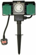 2 Way Outdoor Sockets With 5m Cable & 24 Hr Timer Weather & Water Proof Plug