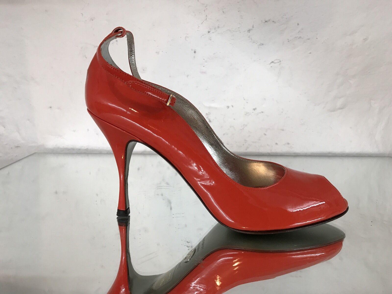 Dolce Peeptoes & Gabbana D&G Pumps Peeptoes Dolce Leder Orange 1.Linie Gr.39,5 1ad026