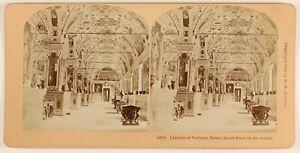 Vaticano La Libreria Roma Italia Foto Stereo PL55L6n Vintage Albumina 1896