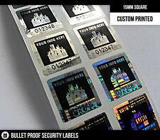 100ct 15MM SQUARE HOLOGRAM WARRANTY VOID SECURITY LABEL STICKERS-Custom Printed