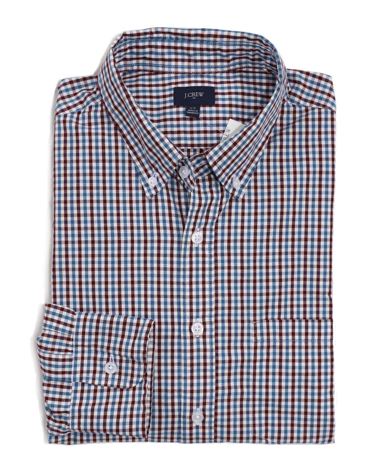 J.Crew Factory Mens XL Tall NWT Maroon Red bluee Micro-Gingham Button-Down Shirt