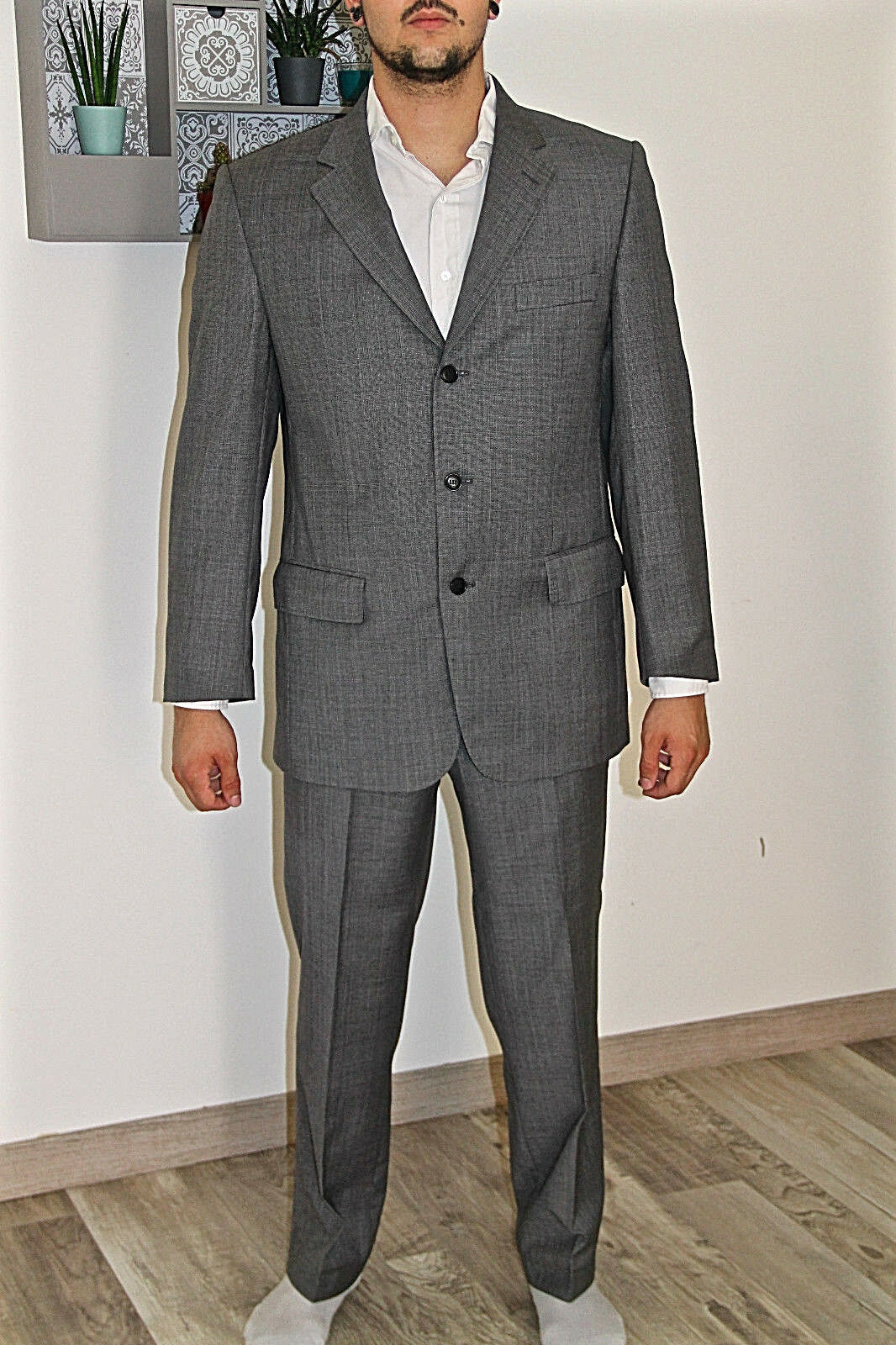 Abito grigio di lana SERGE BLANCO giacca T 52 pantaloni T 42/44 fr