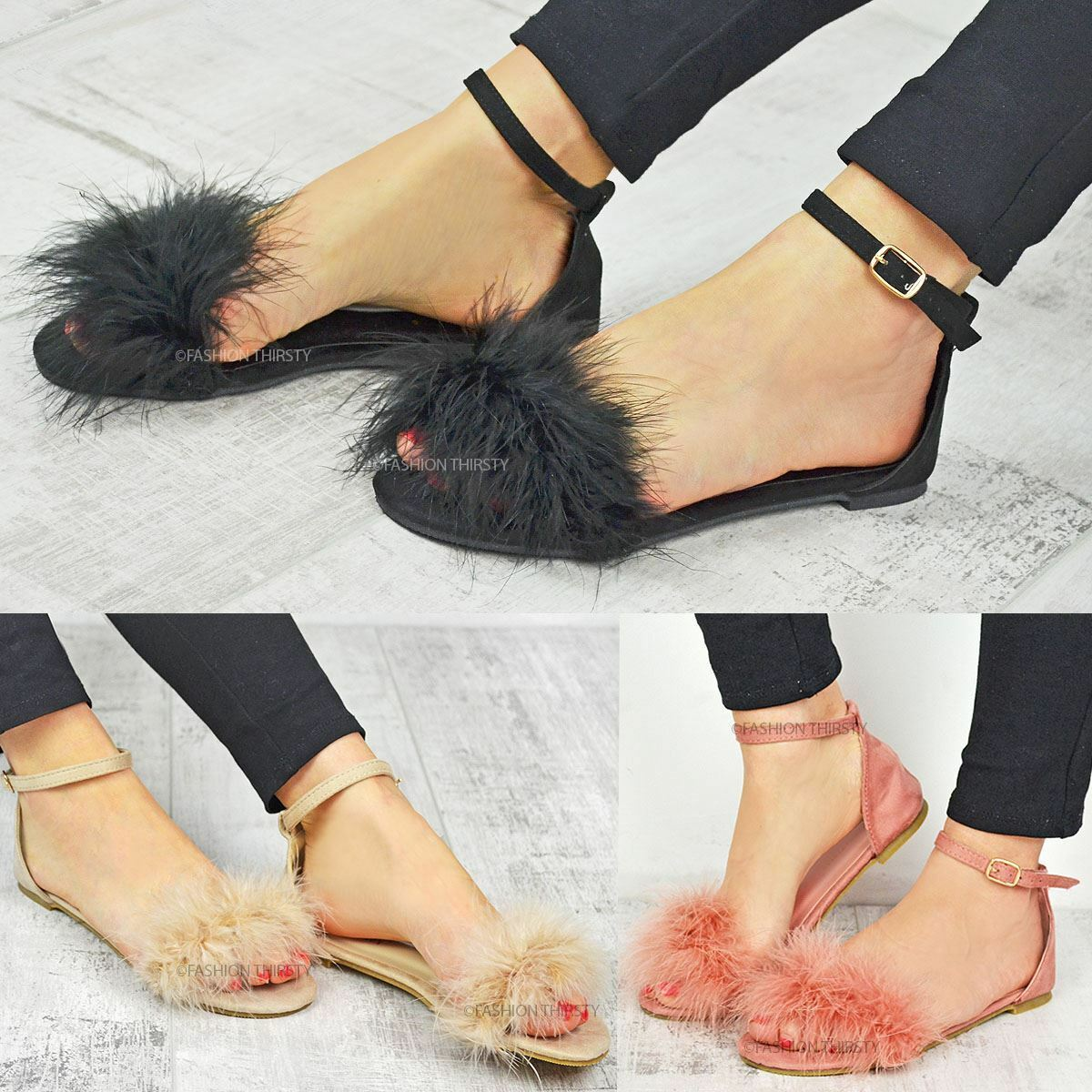 Mujer FAUX FLAT FUR SLIDERS LADIES SUMMER SANDALS COMFY FLAT FAUX HEEL SLIPPERS Zapatos SZ 1e14ce