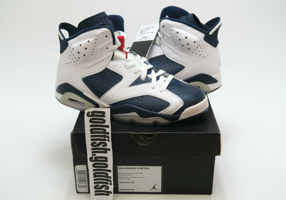DS NIKE AIR JORDAN 6 RETRO OLYMPIC 384664 130 2012 blanc NAVY rouge