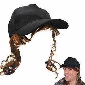 851913a81d8 Adult Trucker Redneck Cap Hat with Mullet Hair Wig Fancy Dress ...