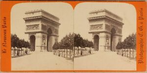 Parigi ARCO Da Triomphe Da L Stella c1870 Francia Foto Stereo Vintage Albumina