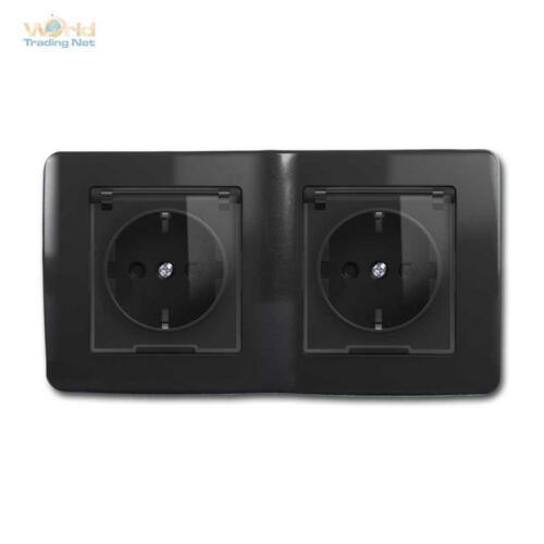 Unterputz-Montage Schutzkontakt-Steckdosen mit Deckel Strom-Dose Klapp-Deckel