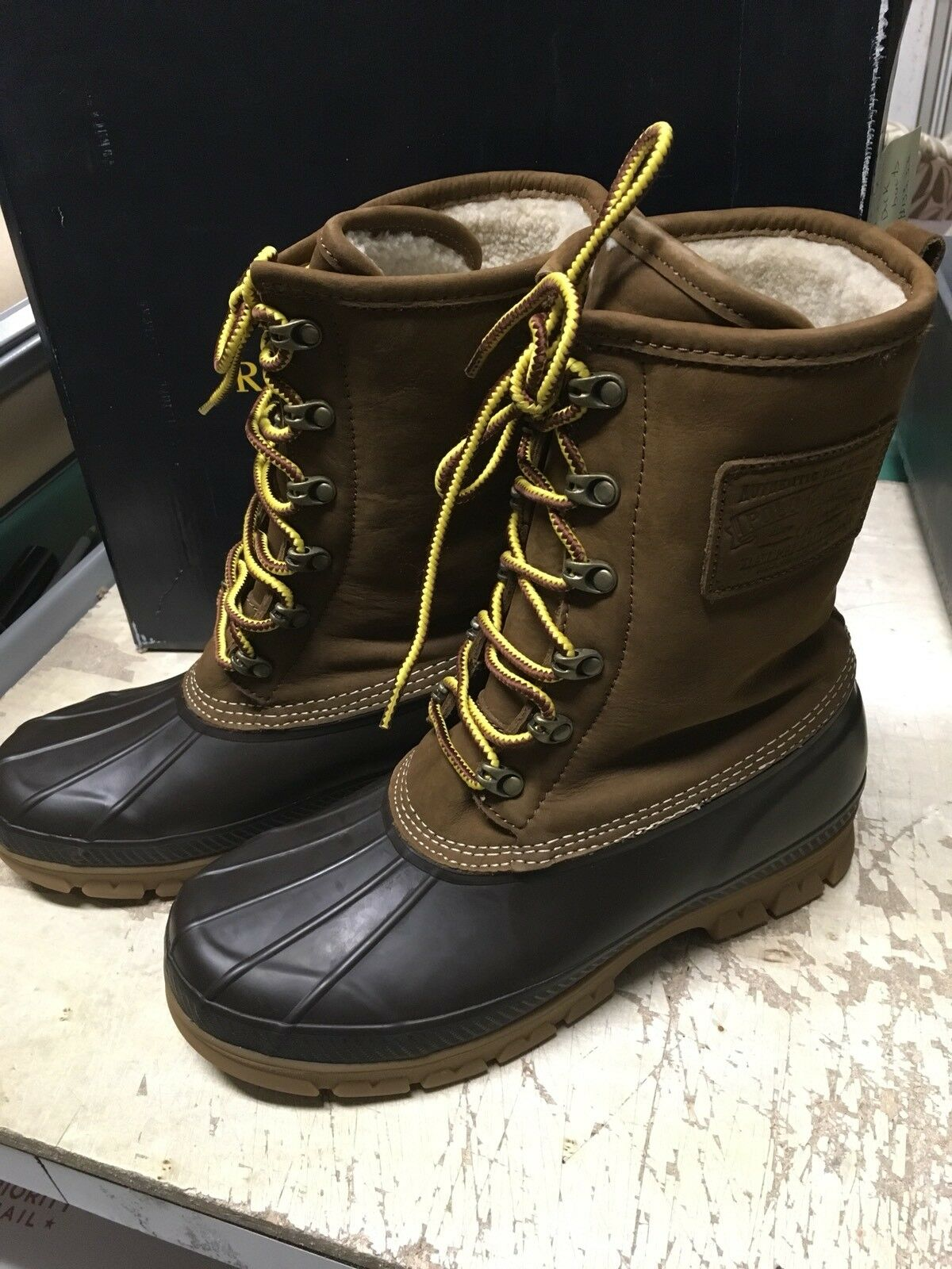 DS MENS Polo Ralph Lauren Romford Boot SHEARLING LINED SNUFF NATURAL SZ 9