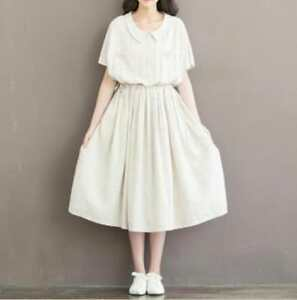 2244bb3935866 Details about Vintage Women Cotton Linen Loose Doll Collar Drawstring Summer  Striped Dress NW