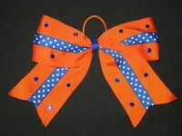 blue & Orange Bling Cheer Bow Pony Tail 3 Inch Ribbon Girls Cheerleading