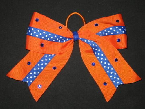 "NEW /""BLUE /& ORANGE Bling/"" Cheer Bow Pony Tail 3 Inch Ribbon Girls Cheerleading"