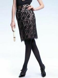 Banana-Republic-BLACK-Lace-PEACH-Line-Skirt-Sz-0-NWOT-Holiday-Collection