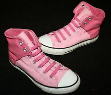 CONVERSE CHUCK TAYLOR ALL STAR HI-TOP No Tie SHOES Two Tones Pink Girl Size 2