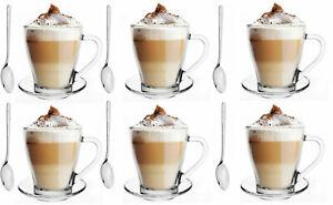 SALE-Multiset-6-Latte-Macchiato-Glaeser-360ml-und-6-Edelstahl-Loeffel-6-Platten