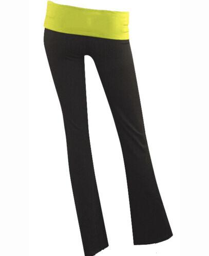 Large Black and Yellow Yoga Pants Active Sweatpants Black Fold Over Yoga Pants