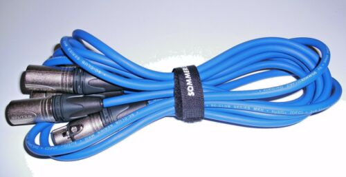 2 Stück Profi-Audiokabel XLR 2 m blau Neutrik-XLR SPAR SC Club Series MK II
