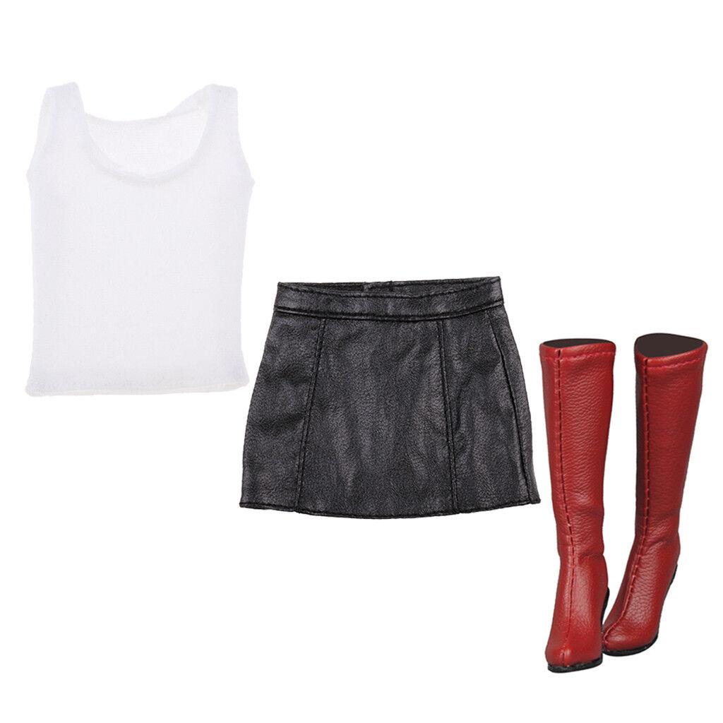 1 6 Falda Corta Top del chaleco del cuerpo femenino botas Largas Para 12  CY CG figura de acción