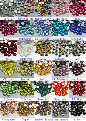 1440~7200 Gava Flatback Rhinestones SS12~SS20 Multiple Color Nail Art Crystal
