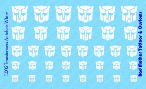 White for Action Figures Custom Transformers Autobots Waterslide Decals