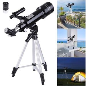 70mm-Astronomical-Refractor-Telescope-Refractive-Eyepieces-Tripod-Kids-Beginners