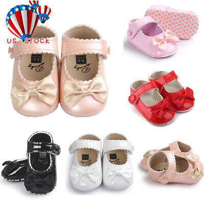 Toddler Baby Girl Bowknot Leater Shoes Sneaker Anti-slip Soft Sole Shoes