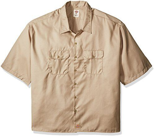 Dickies Men/'s Moisture-Wicking Short-Sleeve Square Tail Button-Front Work Shirt