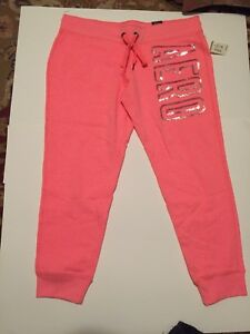 Aeropostale-Jogger-Sweat-Pants-Junior-Large-Pink-peach-New-With-Tags