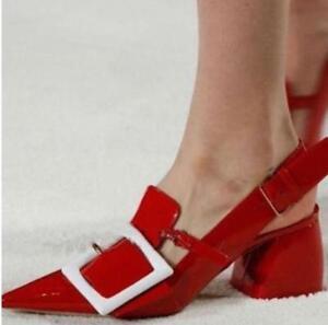 Chaussures-femme-cuir-verni-bout-pointu-et-Boucle-Chunky-Talons-Hauts-Bride-Arriere-Chaussures-Club