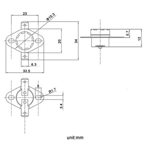 5 × Temperature Switch Thermostat 70°C Degrees Celsius NC Normal Close KSD301