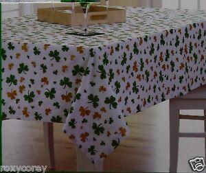 St Patricks Day White W Green Amp Gold Shamrock Tablecloth