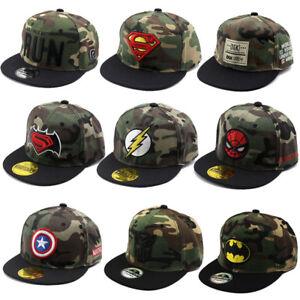 b8b30bb003caf Kids Child Camouflage Superman Flash Baseball Cap Boys Mesh Snapback ...