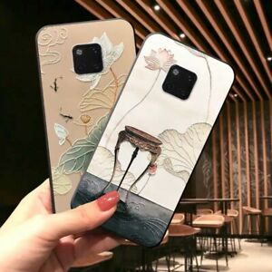 Relief-Chinese-Ancient-Flower-Soft-Back-Case-Cover-For-Huawei-Mate-20-Pro-P30