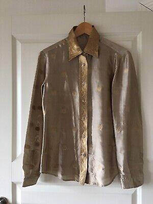 Skjorte, Ganni , str. 42, Lysblå , Silkesatin , Ubrugt