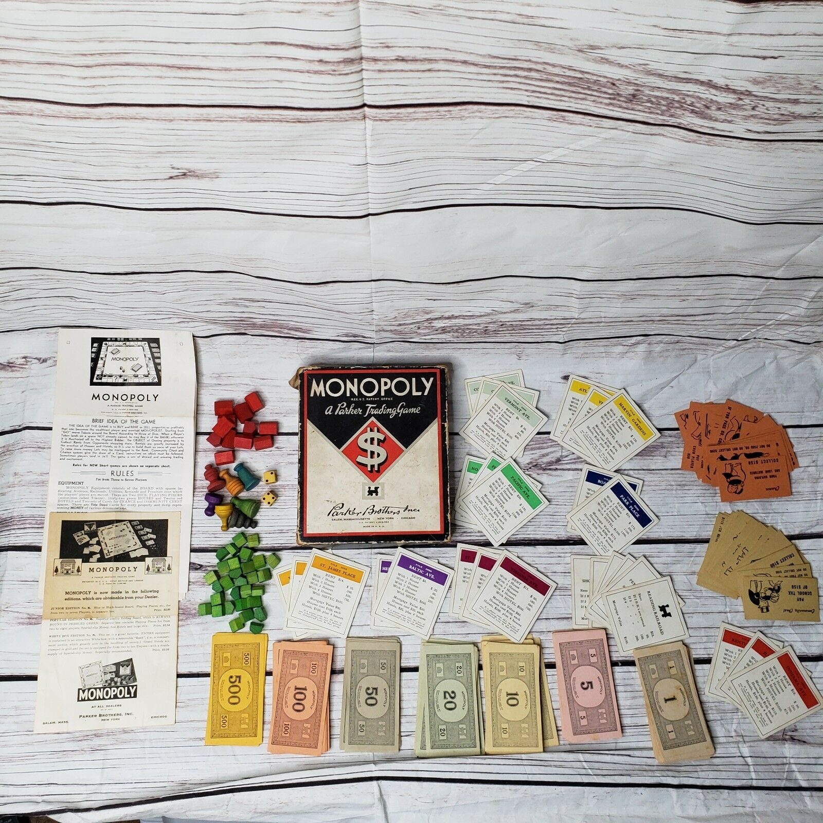 Vintage monopoly board game 1935 patent 2,026,082 Made in USA wooden pieces