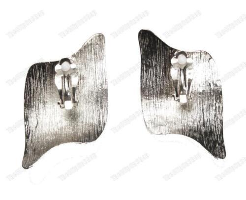 Grande 6cm Clip en Retro Metal Aretes Curvo futurista cepillado 80s Chapado En Oro