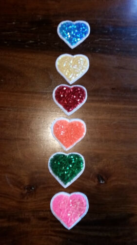 6x parche Patch con lentejuelas estrellas boca corazones multicolor parchear para aufnähen