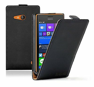 Ultra Slim BLACK Leather Case Cover Pouch For Nokia Lumia 735 LTE (+2 FILMS)