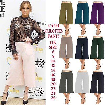 Womens Printed Stretchy Elasticated 3//4 Length Wide Leg Culottes Shorts 16-26