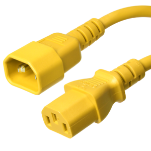 15A//250V 14 AWG IEC 320 Power Cord C14 to C13 Iron Box IBX-2813 Yellow 1 ft