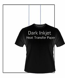 Inkjet heat transfer PAPER For Dark color fabric 8.5x11 100 Sheets/Pk
