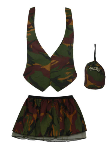 Army Girl Camo Soldier Waistcoat Pleated Tutu Pouch Fancy Dress UK Military