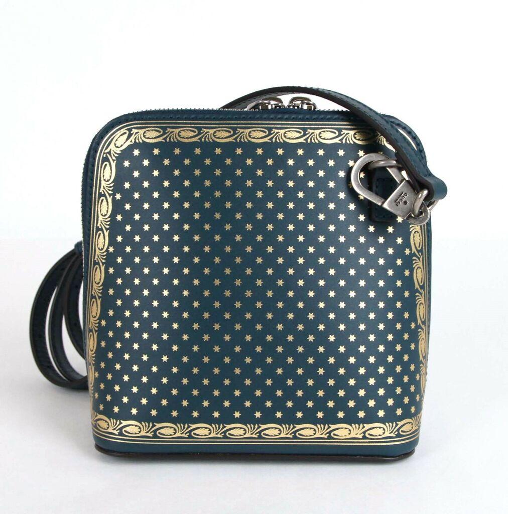Gucci Dusty Turquoise Leather Guccy Sega Script Dome Mini Bag 511189 3080  | eBay