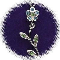 "Sterling Silver /""Blue Crystal Flower/"" Necklace"