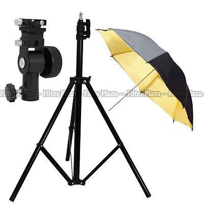 "Pro Studio Light Stand + Flash Speedlite D Bracket Mount + 33"" Gold Umbrella Kit"