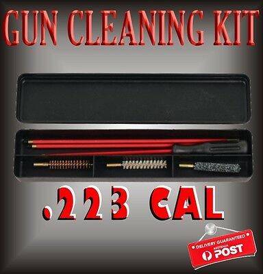 7 Pce .223 Cal Gun Cleaning Kit Coated Rifle Rod Brushes + Case Hunting Shooting