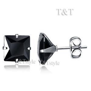 T/&T 8mm Black CZ Square Stud Earrings