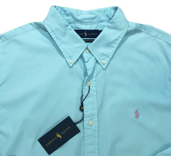 Men's RALPH LAUREN Light bluee Feather Weight Twill Shirt 2XB 2X BIG NWT NEW Wow