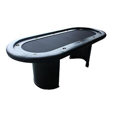 """96"""" 10 player Poker Table curved wood pedestals black suited speed cloth & rail"""