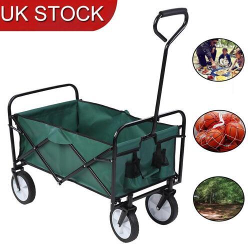 Folding Wagon Cart Collapsible Outdoor Wagon Heavy Duty Beach Garden Trolley UK