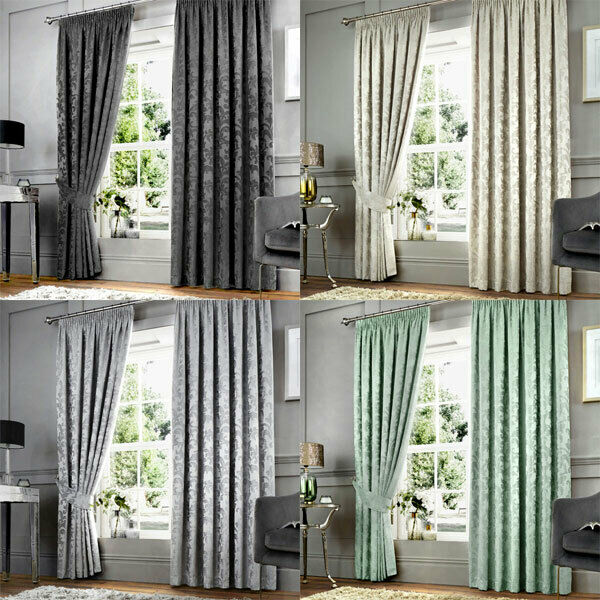 Curtina Anderton Chenille Jacquard Pencil Pleat Lined Curtains